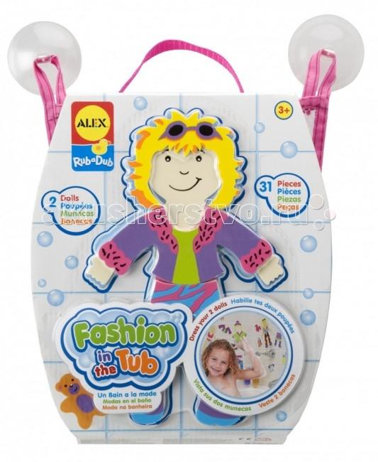 Игрушки для ванны Alex Набор фигурок-стикеров для ванны Одень куклу игрушки для ванной alex игрушки для ванны джунгли