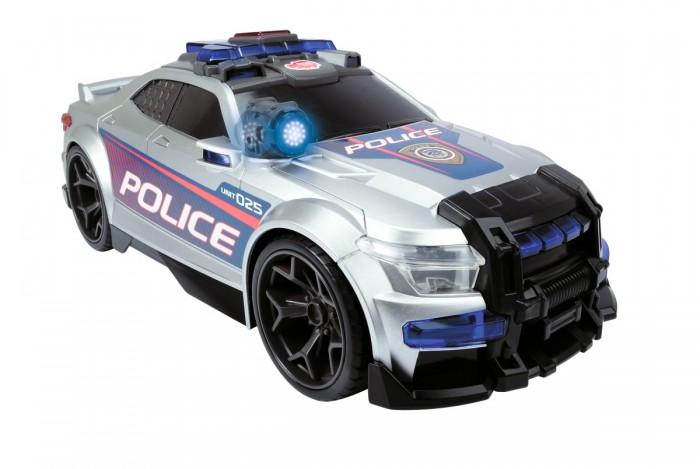 Dickie Полицейская машина Сила улиц 33 смМашины<br>Dickie Полицейская машина Сила улиц 33 см Такой реалистичной полицейской машины в коллекции игрушек вашего ребёнка точно нет. Ведь этот патрульный автомобиль оснащен правдоподобными звуковыми эффектами, на ее корпусе предусмотрены светящиеся фары и мерцающие мигалки, а самостоятельная езда позволит детям наблюдать за передвижениями игрушки со стороны.  Особенности: Благодаря этой машинке в коллекции мальчишек появится реалистичный полицейский автомобиль Игрушка оснащена звуковым модулем, позволяющим ей воспроизводить характерный звук сирены или запуск мотора А световые эффекты в виде мерцания мигалок и светящихся фар машинки, сделают игры с ней еще интереснее Особенно мальчишкам понравится самостоятельная езда игрушки, которую можно актировать нажатием кнопки на корпусе и мощные колеса начнут активно вращаться В открывающемся багажнике автомобиля дети обнаружат имитацию специализированных атрибутов для полицейских Корпус машинки выполнен из высококачественного прочного пластика, который дополнен тематическими наклейками Катая полицейский автомобиль, дети не только интересно проведут время, но и потренируют мелкую моторику руку, а также разовьют фантазию