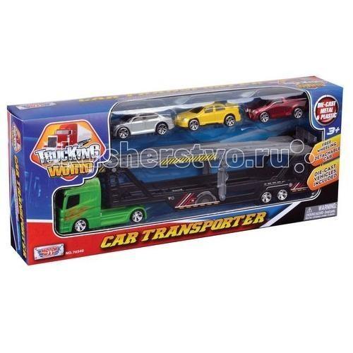 Машины MotorMax Набор с грузовиком для перевозки автомобилей, рампой и 3 машинками motormax motormax грузовик для перевозки автомобилей с 3 машинками