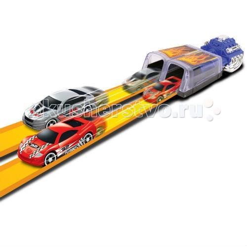 Машины MotorMax Пусковая установка + 2 машинки 1:64 motormax грузовик с большой платформоц и рампой для погрузки машин 36 см 3 машинки 1 64 motormax