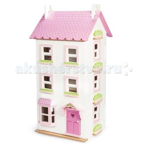 LeToyVan Кукольный домик ВикторияКукольный домик ВикторияДеревянный домик Виктория - из серии больших кукольных домиков.  Компания Le Toy Van, ведущий мировой производитель деревянных игрушек для девочек и мальчиков, представила эксклюзивную модель кукольного домика, поражающую своей красотой, масштабностью и размерами.  На первом этаже есть большое эркерное окно. Остальные окна не имеют ставень и открываются поднятием нижней створки вверх. Каждая створка снабжена магнитом, который препятствует её самопроизвольному закрыванию.  Полотна крыши снимаются и образуют четвертый этаж. Передний фасад - это большая дверь, снабженная металлическими петлями и магнитами, которые фиксируют её в закрытом положении. Входная дверь с фигурным козырьком также открывается.  Конструкция домика легко и быстро собирается Так как домик имеет достаточно большие размеры, то дверцы (передние панели) дополнительно фиксируются внизу и вверху с помощью прижимных винтов. Домик прост в уходе - достаточно протирать его с помощью влажной, мягкой тряпочки. Кукольный домик Виктория изготовлен из натуральных материалов и окрашен специальными безопасными для детей красками.   Кукольная мебель и кукольная семья в комплект не входят и продаются отдельно.  Большой деревянный кукольный домик Виктория  очень большой - 4 этажа много окон и света на первом этаже большое эркерное окно окна открываются поднятием нижней створки вверх и снабжены магнитными фиксаторами дверь домика (передняя панель) закрывается на магнитиках и самопроизвольно не открывается полотна крыши полностью съемные сделан из натуральных материалов и окрашен безопасными красками самостоятельная сборка не требует специальных инструментов упакован в большую подарочную коробку<br>
