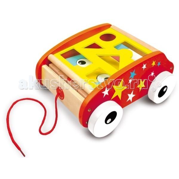 Каталка-игрушка Vilac тележка c веревочкой Геометрические блокитележка c веревочкой Геометрические блокиКаталка-тележка с веревочкой «Геометрические блоки» Vilac.  Тележка обязательно заинтересует малышей по тому, что: производитель использовал самые яркие цвета: красный, желтый, голубой, белый, черный её можно использовать как сортер, подбирая блоки соответствующие по форме и размеру прорезям в крышке можно изучать геометрические формы, а если надоест учиться, то ... достать блоки разной формы и построить из них башню или мостик с глазками и наконец, просто взять за веревочку, и каталка поедет вслед за хозяином, куда он захочет  Вот какая хорошая и нужная вещь для любого исследователя, которому исполнилось уже целых 2 года.  Родителям будет интересно, что каталка-тележка с веревочкой «Геометрические блоки» французской компании Vilac: выполнена из дерева имеет размер 29х23х14 см предназначена для детей от 2 лет будет интересна как мальчику, так и девочке окрашена безопасными для детей красками имеет обтекаемую форму, сдвигающуюся крышку с прорезями и набор деревянных элементов различной формы и размера, четыре колеса, а так же прочную красную веревочку имеет гладкие, приятные на ощупь поверхности упакована в красивую подарочную упаковку  Vilac - старейшая французская компания в мире по производству традиционных игрушек. История компании началась в 1911 году как семейный бизнес. Сейчас это несколько тысяч наименований игрушек, часть которых традиционно производится во Франции.<br>