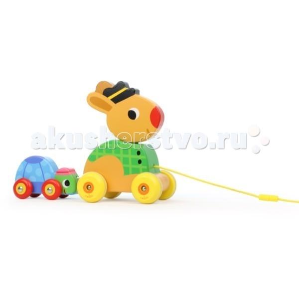 Каталка-игрушка Vilac с веревочкой Зайчик и черепашка