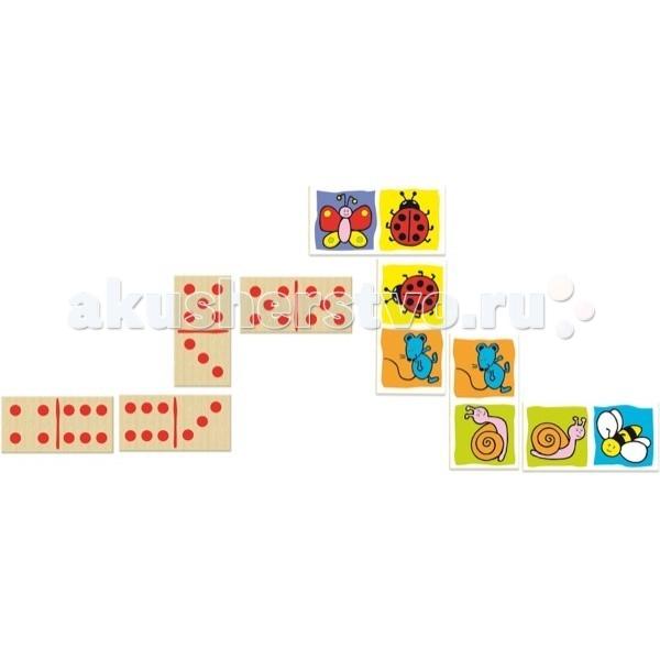 Деревянная игрушка Vilac Домино двухстороннее Букашечки-таракашечки 28 эл.Домино двухстороннее Букашечки-таракашечки 28 эл.Игра домино «Букашечки-таракашечки», это 28 деревянных фишек, размером 10х5х0.5 см, которые упакованы в практичный деревянный ящичек со сдвижной крышкой.  Лицевая сторона разделена на две квадратные части, на каждой из которой изображено животное или насекомое, а оборотная содержит от 0 до 6 точек.  Характеристики: настольная игра для компании (должно быть не меньше 2 игроков) 28 деревянных элементов, на которые изображение нанесено с двух сторон (с одной букашечки-таракашечки, а с другой от 0 до 6 точек)  будет интересна как мальчикам, так и девочкам рекомендуемый возраст от 2 лет фишки изготовлены из дерева упаковка - практичная деревянная коробка со сдвижной крышкой, сверху одета красочная картонная обложка  Правила игры: Играют от двух до четырёх человек. Для двух сдают по семь доминошек, для трёх или четырёх — по пять. Остальные - резерв. Начинает игрок, у которого на руках находится фишка 0-0. Следующие игроки выкладывают фишки с такими же картинками (две соседние картинки должны совпадать). Если подходящей фишки нет, игрок обращается к резерву. Затем ход переходит следующему игроку. Победитель тот, у кого не осталось на руках фишек.   Vilac - старейшая французская компания в мире по производству традиционных игрушек. История компании началась в 1911 году как семейный бизнес. Сейчас это несколько тысяч наименований игрушек, часть которых традиционно производится во Франции.<br>