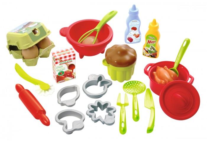 Ролевые игры Ecoiffier Набор посуды с продуктами ecoiffier игрушечная тележка с продуктами