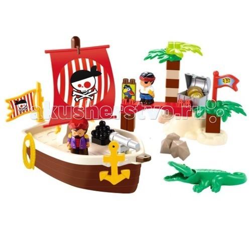 Конструктор Ecoiffier Сокровища пиратовСокровища пиратовКонструктор Ecoiffier Сокровища пиратов   У пиратов была насыщенная и полная приключений жизнь. Перед вами конструктор с пиратским кораблем и островом сокровищ.  Из 34 крупных деталей можно собрать настоящий корабль с пушками и парусами. Кроме того у вас получится остров с причалом, пальмами и сокровищами. В наборе есть фигурки пиратов и крокодила. Детали легко ложатся в детскую ручку. Они не имеют опасных острых углов и приятны на ощупь.<br>