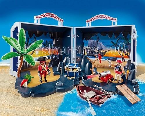 Конструктор Playmobil Пираты: Пиратский сундук с сокровищамиПираты: Пиратский сундук с сокровищамиПираты: Пиратский сундук с сокровищами – подарит крохе много часов увлекательной игры.  Игровые наборы Playmobil помогут найти остров сокровищ, малышу лишь нужно открыть удобный сундук, и с любой стороны можно разложить пейзаж необитаемого острова, на котором пираты спрятали свои сокровища.   Для охраны острова они используют большую функциональную пушку с ядрами.  Чтобы подплыть к острову и справиться с прибрежными волнами, нужно налегать на весла и ставить лодку прямо поперек волны, тогда прибрежный прибой не помешает причалить.   С помощью деревянного мостка можно перенести сокровища с лодки на берег.  В конструкторы входит пиратский чемоданчик, 2 пирата, функциональная пушка, лодка, доска и аксессуары. Ребенок может увеличить или уменьшить ручку на чемоданчике, чтобы удобно было его переносить.   Открыть корпус можно с двух сторон, развернув каждые 2 петли.  Чтобы собрать игровой пейзаж, нужно сложить две нижние плиты и закрепить дно.  Лодку можно прикрепить возле мостка и установить пушку.   Пираты смогут наблюдать за прибрежными водами и смотреть в подзорную трубу.  При приближении неприятеля выстрелить из пушки и потопить вражеский корабль. Набор от Playmobil развивает воображение и образное, логическое мышление.  Продукция сертифицирована, экологически безопасна для ребенка, использованные красители не токсичны и гипоаллергенны.<br>