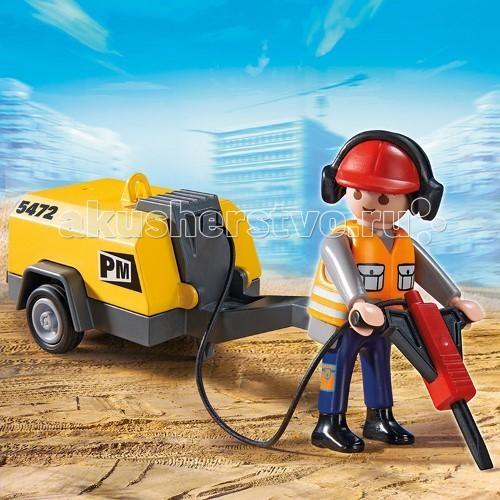 Конструкторы Playmobil Стройка: Строитель с отбойным молотком конструкторы playmobil стройка строитель с отбойным молотком