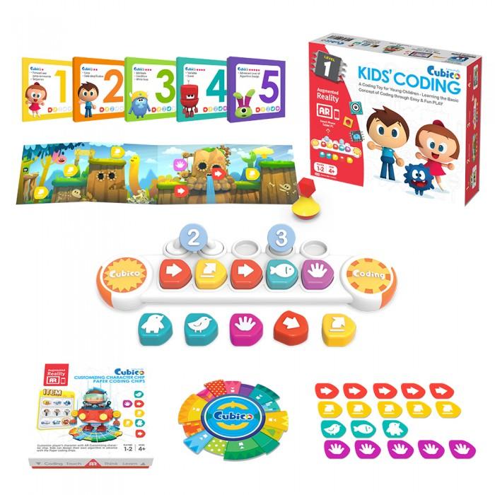Cubico Набор для обучения основам программирования в игровой формеЭлектронные игрушки<br>Cubico Набор для обучения основам программирования в игровой форме для детей от 4 лет основам программирования в процессе увлекательной игры.   В ходе интерактивных занятий дети будут изучать основные принципы программирования и построения базовых алгоритмов. Cubico - это комплексное учебное пособие, специально разработанное для детей от 4 с учетом их когнитивного, эмоционального и поведенческого развития.   Программирование сегодня – это новый вид базовых знаний, наряду с умением читать, писать и считать. Как и при обучении иностранным языкам, занятия программированием в раннем детстве способствуют развитию алгоритмического мышления ребенка.   Процесс игры в Cubico это несколько этапов. Все начинается с планирования поставленной задачи на красочных иллюстрированных картонных картах, далее дети начинают создавать программу (алгоритм), размещая нужные блоки команд в определенной последовательности, которая будет визуализирована на экране телефона или планшета.