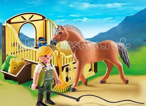 Конструкторы Playmobil Конный клуб: Рабочая лошадка и загон playmobil 5266 summer fun детский клуб с танц площадкой