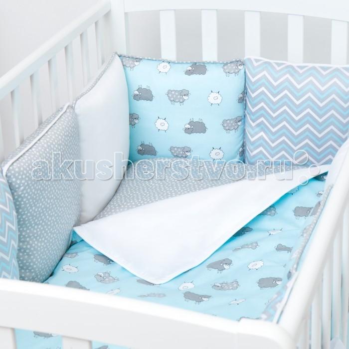Комплект в кроватку Fluffymoon  Happy Sheep Blue бортики-подушки (4 предмета)