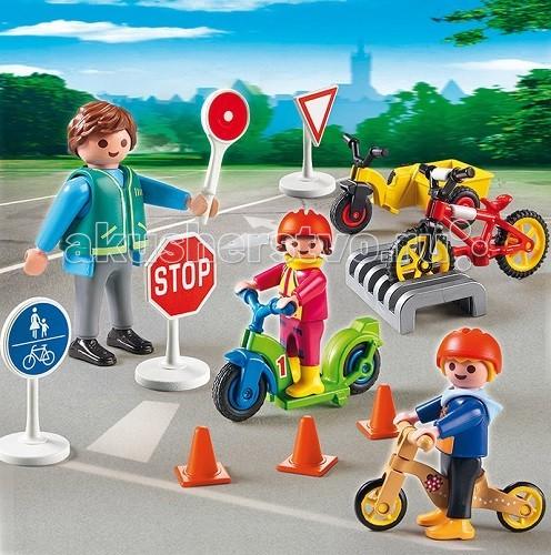 Конструктор Playmobil Детский сад: Дети с воспитателем по ПДДДетский сад: Дети с воспитателем по ПДДДетский сад: Дети с воспитателем по ПДД. Поможет ребенку изучить правила поведения на дороге.  С игрушечным воспитателем можно познакомиться со знаками на дороге и правилами передвижения.   Используя игровые наборы Playmobil, можно объяснить ребенку как нужно переезжать через дорогу и двигаться по тротуару.  У скутера и велосипедов прокручиваются колеса.   Для передвижения на транспортном средстве нужно надеть шлем на голову.  Если стоит знак «стоп», то нужно остановиться и посмотреть по сторонам.  Там, где есть знак разрешающий проезд на велосипеде, можно кататься.  Чтобы поставить велосипед на стоянку, есть специальное приспособление.  Так же в игровом наборе есть знак «главная дорога», стрелки для поворота, конусы для обучения правильной езде и указатель направления в руке воспитателя. В конструкторы входит воспитатель с двумя фигурками детей, три велосипеда, скутер, дорожные знаки.  Ребенок может установить на дорогу знаки и начать обучение правильному движению.  Игрушка Playmobil развивает внимание у ребенка, сосредоточенность и память, а так же любознательность и образное мышление.  Продукция сертифицирована, экологически безопасна для ребенка, использованные красители не токсичны и гипоаллергенны.<br>