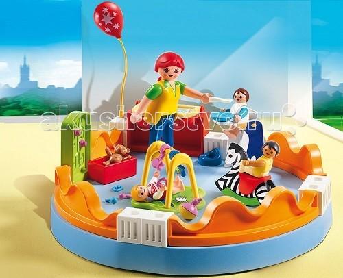 Конструктор Playmobil Детский сад: Группа детского садаДетский сад: Группа детского садаДетский сад: Группа детского сада – набор, который поможет ребенку интересно провести время. Интересные конструкторы с множеством деталей будут интересны ребенку.  На площадке есть передвижная стенка-столик для пеленания ребенка, над которым висит красивый красный шарик.   Пока воспитатель кормит малыша ложечкой, ребенок постарше катается на деревянной лошадке и представляет себя ковбоем.  Совсем маленький малыш лежит в манеже и играет с игрушками. Никому не скучно и каждый найдет себе занятие.  Это интересный детский садик для всех возрастов, в нем много игрушек и приспособлений.  В игровые наборы Playmobil входят площадка для игры и отдыха из детского сада, манеж с малышом, лошадка-качалка с ребенком, стульчик с маленьким мальчиком и воспитатель с ложкой, пеленальный стол с шариком.   Ребенок может играть в семейный детский сад, в котором есть детки разного возраста, катать дошкольника на лошадке или помогать кормить малыша из ложечки.  С крошечным ребенком в манеже можно поиграть, шумя погремушкой. Игрушка от Playmobil учит ребенка быть терпеливым и внимательным, заботиться о меньших и помогать старшим, развивает образное мышление и моторику.  Во время игры у крохи так же развивается воображение, усидчивость и любознательность.  Продукция сертифицирована, экологически безопасна для ребенка, использованные красители не токсичны и гипоаллергенны.<br>