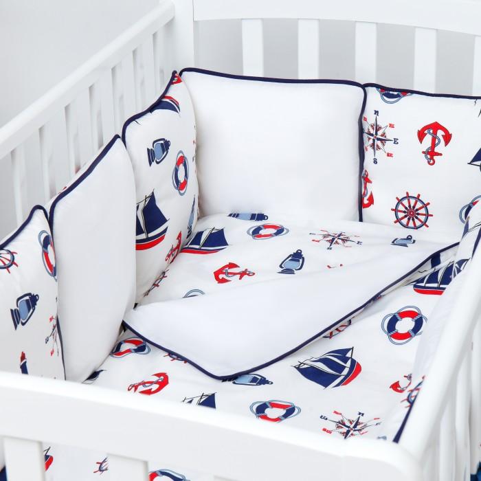 Купить Комплекты в кроватку, Комплект в кроватку Fluffymoon Sea Journey №3 бортики-подушки (6 предметов)