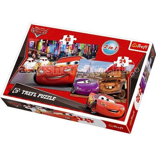Пазлы Trefl Пазл Тачки 2 в 1 Токио и Париж 28+48 деталей trefl карточная игра акулина тачки