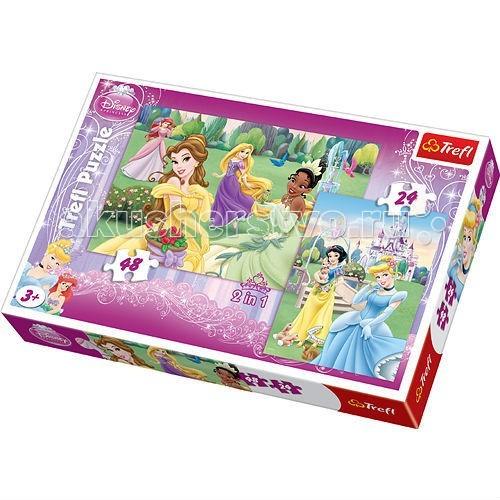 Пазлы Trefl Пазл для девочек 2 в 1 Прекрасные Принцессы 24 + 48 деталей пазлы trefl пазл эйфелева башня 2000 деталей