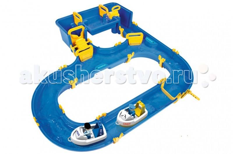 BIG Водный трек Hamburg Big WaterplayВодный трек Hamburg Big WaterplayВодный трек Hamburg Big Waterplay быстро и легко собирается.   В набор входит: 2 человечка, 2 лодки.  Благодаря специальной системе крепления набор не требует клея. Комплект можно расширять за счет других наборов серии Waterplay Big.   Набор развивает творческое мышление, фантазию и вовлекает ребенка в интерактив.<br>