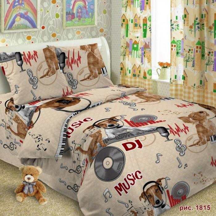 Постельное белье Letto 1.5-спальное Собака диджей (3 предмета) фото
