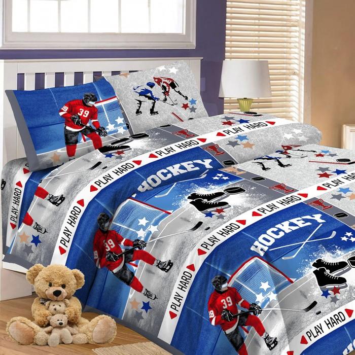 Купить Постельное белье 1.5-спальное, Постельное белье Letto 1.5-спальное Хоккей (3 предмета)