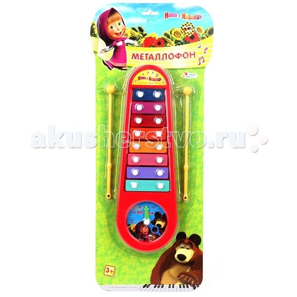 Музыкальные игрушки Играем вместе Металлофон Маша и Медведь с часами игрушка играем вместе маша и медведь металлофон