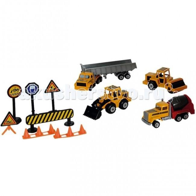 Машины Majorette Набор строительной техники с дорожными знаками