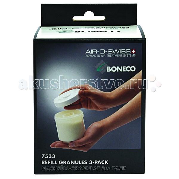 Boneco Гранулят (наполнитель) для фильтра-картриджа 7533Гранулят (наполнитель) для фильтра-картриджа 7533Boneco 7533 - гранулят (наполнитель) для фильтра-картриджа AG+. Применяется для наполнения фильтра-картриджа – важного элемента ультразвуковых увлажнителей. Наполнитель представляет собой ионообменную смолу, состоящую из маленьких (меньше миллиметра в диаметре) шариков, изготовленных из специальных полимерных материалов, именуемых для простоты «смолой». Шарики смолы способны улавливать из воды ионы различных веществ и «впитывать» их в себя. В результате такого обмена ионами вода очищается от солей и других примесей.  Использование ионообменной смолы предохраняет предметы интерьера от образования на них белого налета, который представляет собой не что иное, как солевые образования, появляющиеся в результате испарения воды. Как известно, ультразвуковой увлажнитель распыляет воду со всем содержимым, соответственно, капли водяной пыли оседают на поверхностях, влага испаряется, а растворенные минеральные соли остаются. Поэтому при использовании жесткой воды (воды из-под крана), возможно появление белого налета (минеральных солей, содержащихся в жесткой воде), который на поверхности предметов выглядит как пыль.  На одно наполнение фильтра-картриджа необходим 1 пакетик гранулята (110 г). В комплект входят 3 шт.  Используется в моделях: Boneco 7131, Boneco 7133, Boneco 7135, Boneco 7136, Air-O-Swiss U7142.<br>