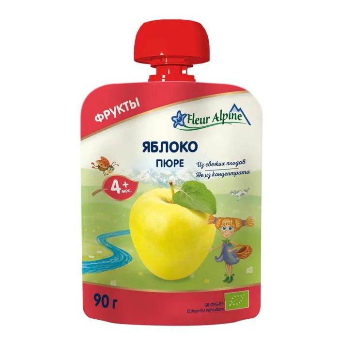 Пюре Fleur Alpine Пюре Органик яблоко с 4 мес. 90 г (пауч) wellber подгузники трусы для детей tpu m