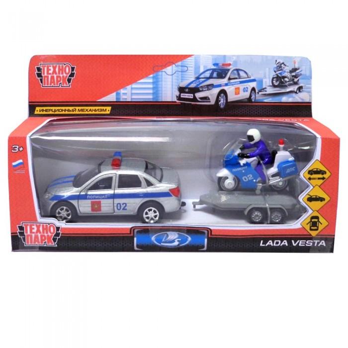 цена на Машины Технопарк Машина металлическая Lada Vesta Полиция и мотоцикл на прицепе