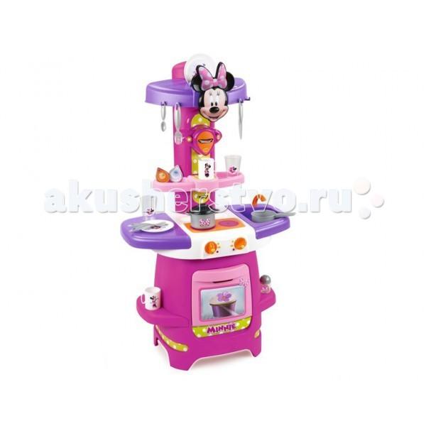 Smoby Игровая кухня MinnieИгровая кухня MinnieИгровая кухня Smoby Minnie - яркая, поднимает настроение, дизайн продуман так, что боковые столешницы можно при желании отодвинуть и получится дополнительное игровое пространство. Набор сделан из высококачественной пластмассы, подойдет для игры как дома,так и на улице. Кухня не электронная, без звуковых и световых эффектов.   В наборе:    плита  духовка  раковина  кофеварка  кастрюля с крышкой  2 тарелки  вилки, ложки  чашки  ковшик  капсулы для кофемашины<br>