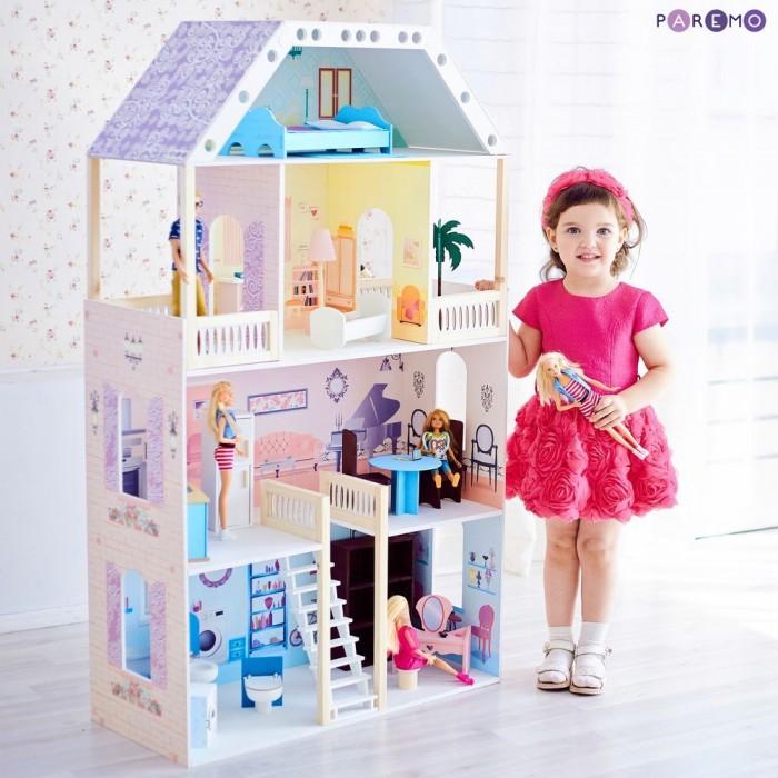 Кукольные домики и мебель Paremo Деревянный кукольный домик Поместье Риверсайд с мебелью (16 предметов)