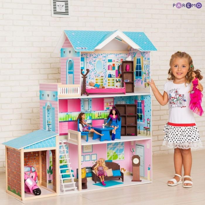 Paremo Кукольный дом Беатрис Гранд (с мебелью)Кукольные домики и мебель<br>Paremo Кукольный дом Беатрис Гранд (с мебелью)  Домик, выполнен в современном стиле, в нежно голубом цвете, благодаря которому домик кажется легким и воздушным. Игрушку отличает нежный, пастельный принт по дереву внутри дома с акцентом на нежно розовый цвет, не одна девочка не останется равнодушной к данному подарку.  Особенности: Домик предназначен для девочек старше трехлетнего возраста Игрушечный дом для кукол Беатрис Гранд частично открытый (задняя стенка глухая, все игровые зоны с лицевой стороны полностью доступны для игры) Разработан специально для кукол высотой до 30 см (так называемый, Барби-формат) Размеры домика Беатрис Гранд в собранном виде (ДхГхВ): 104 х 33 х 118 см. Вес игрушки: 25 кг. В комплекте: 11 предметов мебели и аксессуаров.  В данной модификации дома – 1 лестница, 3 этажа, 3 комнаты, гараж и балкон. Для декорирования интерьеров используется инновационная технология нанесения рисунка на дерево, благодаря чему декор дома более устойчив к выцветанию и механическим повреждениям во время игры, чем стандартная технология наклеенного и ламинированного бумажного декора. Внимание: Куклы, текстиль приобретается отдельно!  Упаковка: транспортная картонная коробка