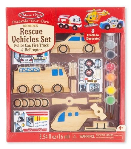 Творчество и хобби , Заготовки под роспись Melissa & Doug Набор автомобилей  спасатели арт: 61370 -  Заготовки под роспись