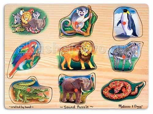 Пазлы Melissa & Doug Звуковые пазлы животные пазлы русский стиль макси пазлы африканские животные