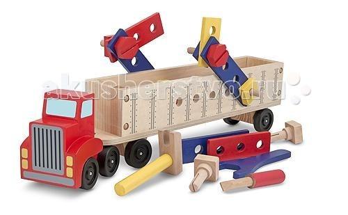Деревянная игрушка Melissa &amp; Doug Классические игрушки Конструктор в прицепе 22 деталиКлассические игрушки Конструктор в прицепе 22 деталиДеревянная игрушка Melissa & Doug Классические игрушки Конструктор в прицепе 22 детали - состоящий из двух частей большая машина с прицепом, готова к использованию и готова к стройке!   В комплекте идут: деревянные части от конструктора с предварительно просверленными отверстиями для деревянных гвоздей и болтов, а грузовик сам по себе является частью перемещающейся строительной площадки.   В набор входит: деревянный тягач с полуприцепом, деревянные плашки, винты и гайки, отвертка молоток и гаечный ключ!  Соберите яркие строительные плиты для создания ярких, цветных сооружений.<br>