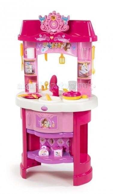 Smoby Кухня Принцессы ДиснейКухня Принцессы ДиснейКухня Smoby Принцессы Дисней понравится маленькой девочке, которая любит играть в сюжетно-ролевые игры.   Игровой набор познакомит девочку с простейшими способами приготовления еды. Кухня развивает сообразительность, желание помогать по дому, готовить для кукол, а вскоре и для всей семьи. С такой кухней у Вас вырастет помощница и кулинарных дел мастер.   Особенности:    её интересный яркий дизайн понравится каждой хозяюшке;  изготовлена из высококачественного пластика;  идеально подходит для игры на даче, дома;  игровая зона расположена по кругу;  кухня имеет небольшую духовку, раковину, есть так же полочки для хранения аксессуаров;  в наборе 20 аксессуаров.    В наборе:    2 ложки  2 вилки  2 ножа  2 тарелки  2 чашки   2 стакана  сковородка  крышка для сковородки  2 коробки, имитирующие еду  вила  лопаточка  половник  разделочный нож<br>