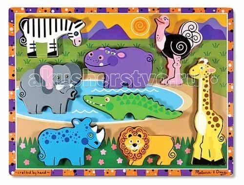 Деревянные игрушки Melissa & Doug Мои первые пазлы Сафари пазлы melissa & doug мои первые пазлы цифры