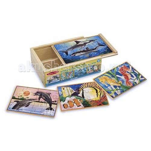Деревянные игрушки Melissa & Doug Пазлы в коробке Подводная жизнь