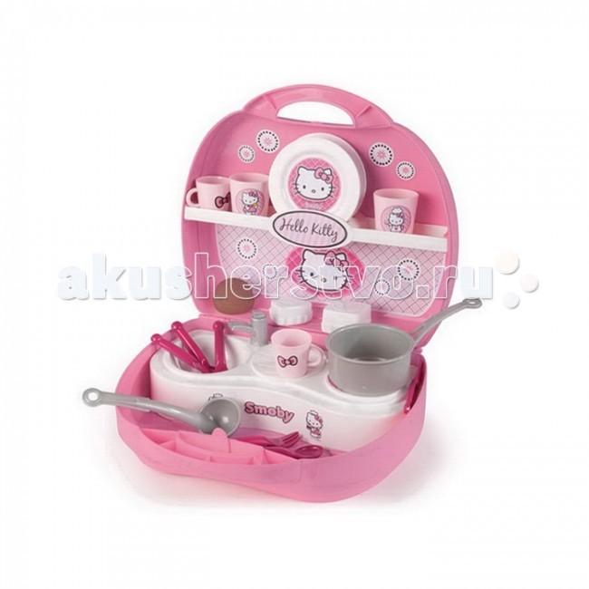 Ролевые игры Smoby Мини кухня в чемоданчике Hello Kitty smoby горка мега 2 в 1