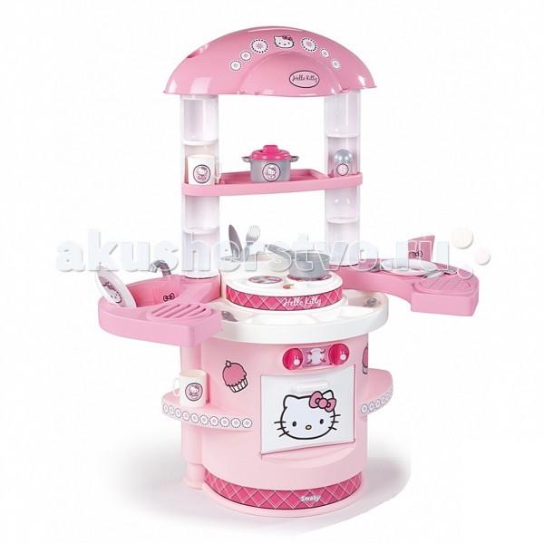 Smoby Моя первая кухня Hello KittyМоя первая кухня Hello KittyМоя первая кухня Smoby Hello Kitty – прекрасная кухня в розовом цвете для готовки разных блюд для кукол и мягких любимых игрушек.   Особенности:    игровая кухня выполнена в приятных розовых тонах и украшена изображениями кошечки Hello Kitty  оборудована плитой на 2 конфорки, столешницей с мойкой и краном (без воды), встроенной открывающейся духовкой, множеством различных полочек для размещения на них продуктов или посуды и крючками для подвешивания кухонных принадлежностей  столешница раздвигается в стороны и игровое пространство увеличивается, под столешницей есть место для хранения столовых приборов и других нужных мелочей  конструкция очень устойчивая  не требует дополнительных креплений  идеально подходит для игры на даче, дома    В наборе:    детали для сборки кухни  кастрюля с крышкой  ковшик  солонка  2 стакана  2 чашки  2 тарелки  2 вилки  2 ножа  2 ложки<br>