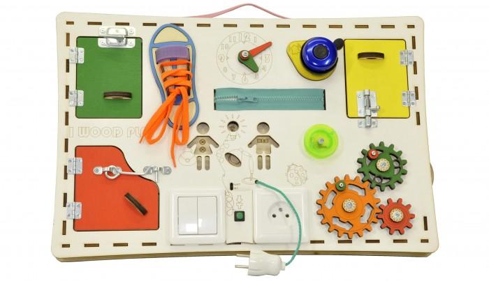 Деревянная игрушка Iwoodplay Бизи доска прямая с электрикой
