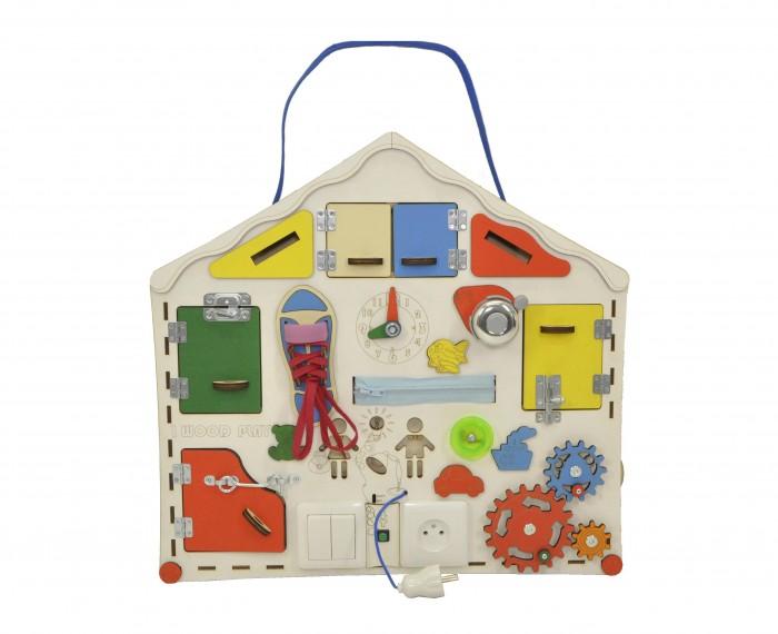Деревянная игрушка Iwoodplay Доска развивающая большая с электрикой Домик