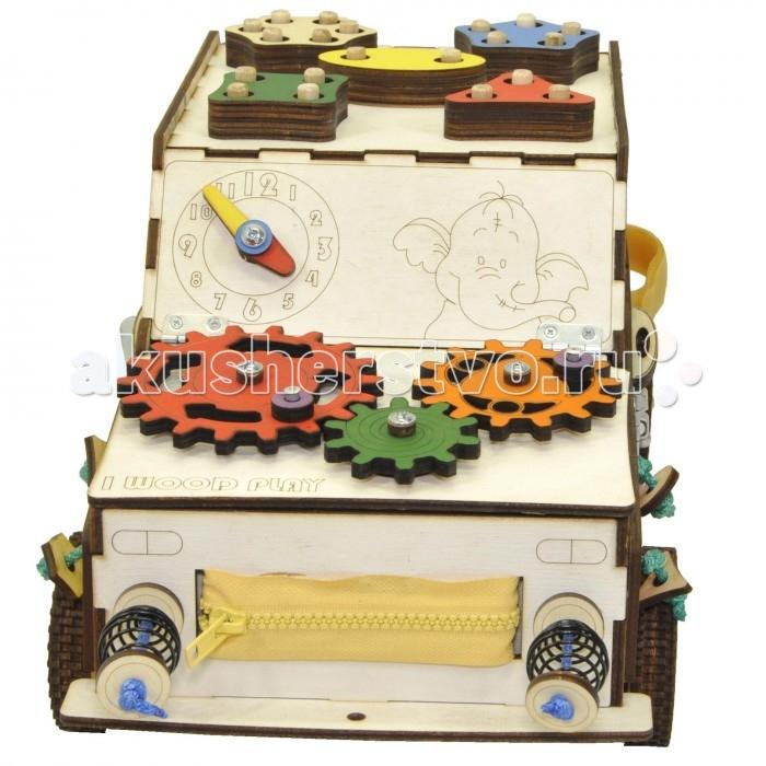 Деревянная игрушка Iwoodplay Бизи Развивающая машинка с электрикой