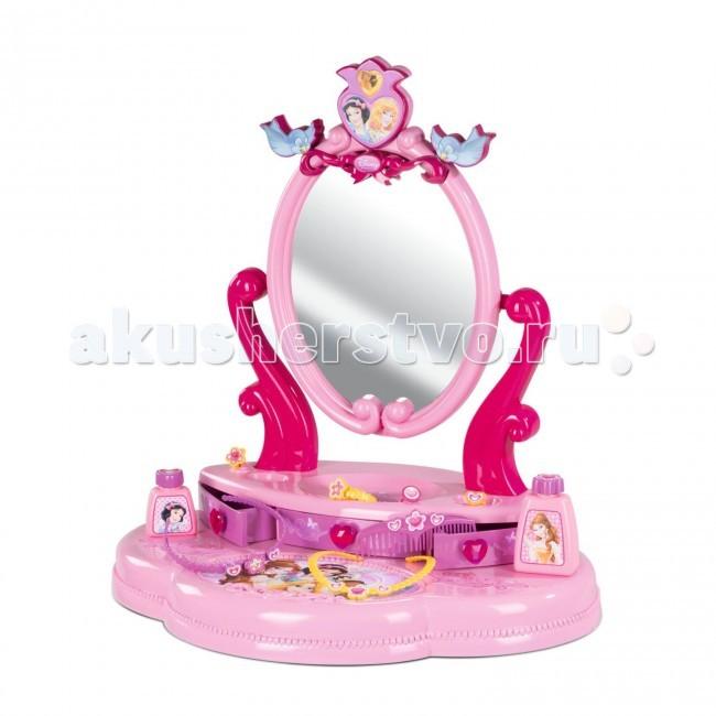 Smoby Настольная студия красоты Принцессы ДиснеяНастольная студия красоты Принцессы ДиснеяНастольная студия красоты Smoby Принцессы Диснея приведет любую девочку в восторг. Столешница со шкафчиком, с зеркалом ставится на любую поверхность. В комплекте есть и аксессуары, на которых тоже изображены любимые принцессы (ободок, расческа, колечко, флаконы). Изумительное оформление, прекрасное качество, любимые герои — вот, что делает эту студию красоты таким желанным приобретением для маленькой красавицы.    В наборе:    столик и зеркало для украшений с 3-мя выдвижными ящиками;  ободок – 2 шт;  расческа;  колечки – 4 шт;  баночки – 2 шт.   Размер студии красоты: 49х36х50,5 см.<br>