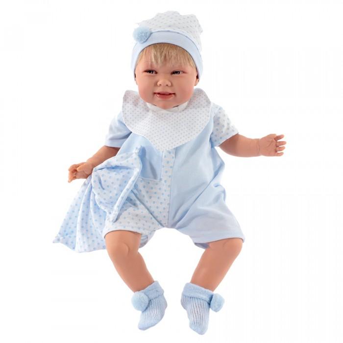 Munecas Antonio Juan  Кукла Мартин 52 смКуклы и одежда для кукол<br>Munecas Antonio Juan Кукла Мартин 52 см разработана известными европейскими дизайнерами.  Особенности:   Интерактивные функции куклы: нажмите на животик: - 1 раз - кукла начнет по детски лепетать  Личико сделано с детальными прорисовками Глазки обрамлены пушистыми ресничками, не закрываются Тело куклы мягконабивное, а голова, ручки и ножки сделаны из высококачественного винила  Куклы не предназначены для купания Для удаления загрязнений используйте салфетку смоченную водой. Куклы Antonio Juan Munecas существуют уже более 40 лет и пользуется заслуженной популярностью в Европе. Куклы производятся исключительно в Испании, из высококачественных материалов, безвредных для ребенка. Образы кукол разрабатываются ведущими Европейскими дизайнерами, они высокохудожественны, натуралистичны (девочки/мальчики), одеты в красивую современную одежду, сшитую из натуральных тканей. Упакованы в стильные фирменные коробки.   В наш век технического прогресса классические куклы Антонио Хуан, с милыми добрыми детскими чертами не перестают пользоваться популярностью, а способность разговаривать, смеяться и плакать делает их вполне современными и интересными даже для самых продвинутых деток.