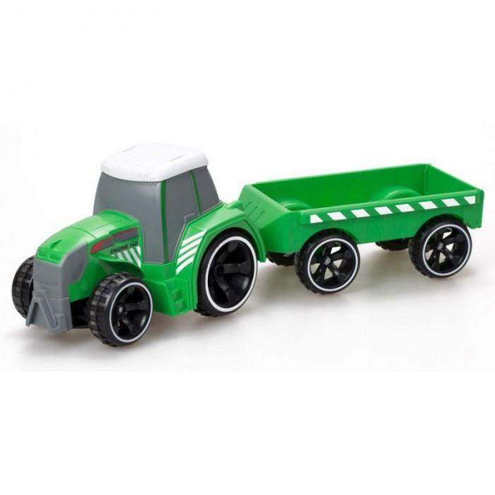 Silverlit Трактор Tooko на ИК с прицепомРадиоуправляемые игрушки<br>Silverlit Трактор Tooko на ИК с прицепом не только ездит по ровной поверхности и возит в своем прицепе различного рода грузы, но и обладает встроенными звуковыми эффектами. Ребенку понравится задавать траекторию движения такой важной сельскохозяйственной техники, даже не прикасаясь к корпусу игрушки руками, а также слушать проигрываемые трактором звуки.  Особенности: Данная игрушка предназначена для детей возрастом от 3 лет. В комплект входят: непосредственно сам трактор, прицеп и пульт. Трактор выполнен преимущественно в зеленом цвете и декорирован белыми полосками на кузове, а также крышей такого же цвета. У него разный диаметр колес, как и полагается для такого рода техники, серая кабина и прорисованный протектор. Прицеп обладает аналогичным цветовым исполнением, прямоугольной формой и имеет открытый тип. Он оснащен двумя парами колес и легко присоединяется к трактору. Трактор с прицепом управляется ИК-пультом. Игрушка имеет встроенные звуковые эффекты, чем еще больше заинтересует ребенка. Набор изготовлен из ударопрочного и высококачественного материала, поэтому прослужит долгое время. С таким набором удастся научиться ориентироваться в пространстве, определять визуально габариты объектов, а также потренировать моторику рук, точность и скорость реакции. Движение вперед, назад, влево и вправо. Пульт оснащен звуковыми эффектами. Тип и количество батареек, необходимых для работы - 3xAA, 3xAAA (в комплект не входят).