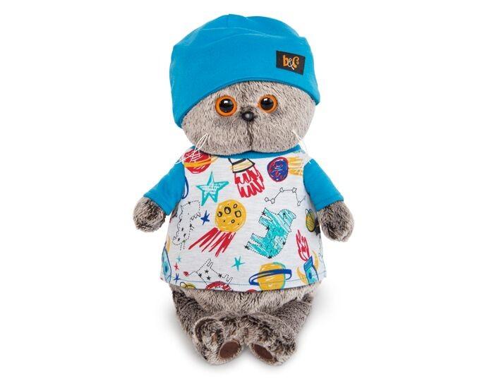Мягкая игрушка Budi Basa Басик в футболке космос и в шапочке 22 см
