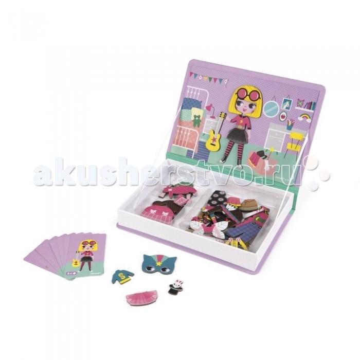 Janod Книга-игра Девочки в одеждах магнитнаяКнижки-игрушки<br>Janod Книга-игра Девочки в одеждах магнитная  познакомит детей с эмоциями, образами, будет развивать воображение и побуждать к творчеству.  В процессе ребенок будет играть большим количеством разнообразных деталей, развивая моторику рук и фантазию. Игра выглядит как книжка из плотного картона, приятного на ощупь.  Открыв ее, ребенок найдет рисунок с лицом-базой и 55 элементов на магнитах, а также 10 карт с подсказками. Вкладыши легко и весело цеплять на лицо, вся семья может присоединиться к сюжетно-ролевой игре, создавая различные образы девочек.