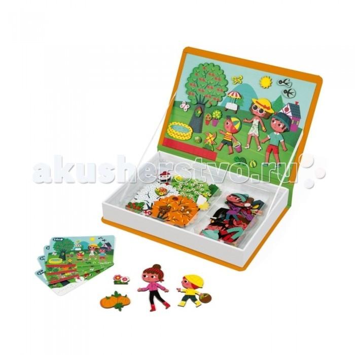 Janod Книга-игра Времена года магнитнаяКнижки-игрушки<br>Janod Книга-игра Времена года магнитная познакомит детей с эмоциями, образами, будет развивать воображение и побуждать к творчеству.  В процессе ребенок будет играть большим количеством разнообразных деталей, развивая моторику рук и фантазию. Игра выглядит как книжка из плотного картона, приятного на ощупь.  Открыв ее, ребенок найдет рисунок с базой и 55 элементов на магнитах, а также 10 карт с подсказками.