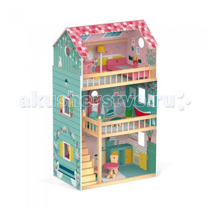Фото - Кукольные домики и мебель Janod Домик кукольный Happy Day с мебелью кукольные домики и мебель наша игрушка игровой набор кукольный домик 12 предметов
