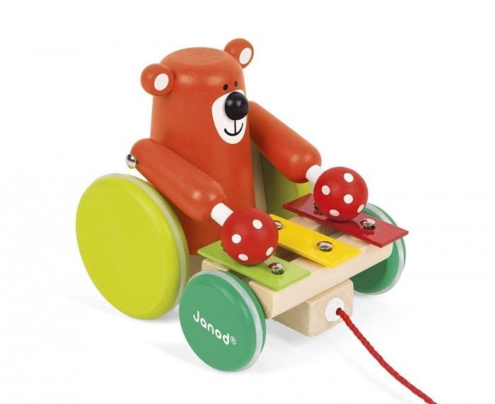 каталки игрушки janod на веревочке ксилофон sweet cocoon Каталки-игрушки Janod на веревочке Медвежонок-музыкант